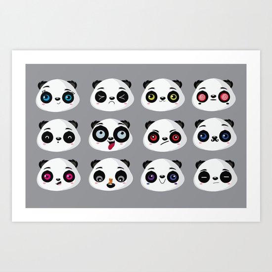 Panda faces Art Print