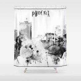 Black And White Phoenix City Skyline Shower Curtain