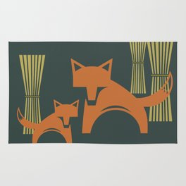 Foxes in the Harvest Rug