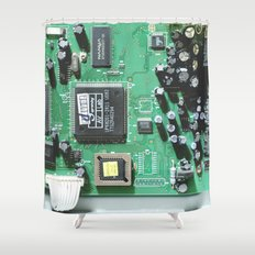Circuit Board (Green) Shower Curtain
