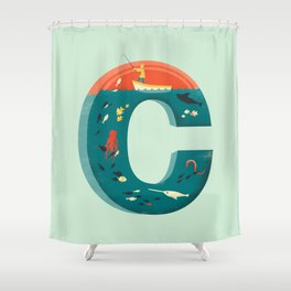 Plenty of Fish in the C  (blue) Shower Curtain