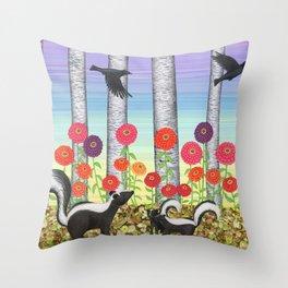 striped skunks, zinnias, birches, & crows Throw Pillow