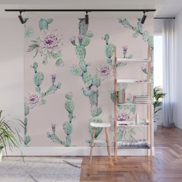 Cactus Rose Pattern on Pink Wall Mural