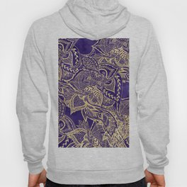 Gold hand drawn floral lace mandala on purple watercolor peacock Hoody