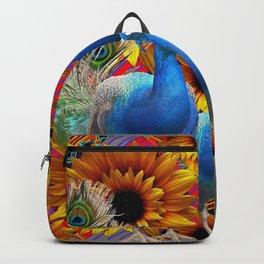 ORNATE BLUE PEACOCKS & GOLDEN SUNFLOWERS Backpack