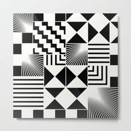 Mosaic Black And White Pattern Metal Print