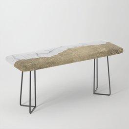 Elegant faux gold foil gray white modern marble Bench