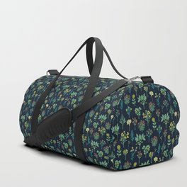 Navy Blue, Mint Green, Turquoise, Coral & Lime Floral Pattern Duffle Bag