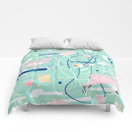 Modern mint strokes and dots creative art Comforters