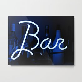 Bar sign blue and neon light Metal Print