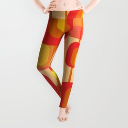 Vintage Design Red orange yellow rectangles Leggings