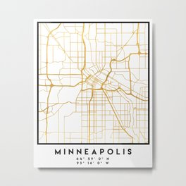 MINNEAPOLIS MINNESOTA CITY STREET MAP ART Metal Print
