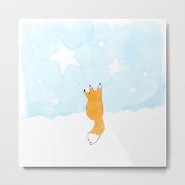 Starry night fox Metal Print