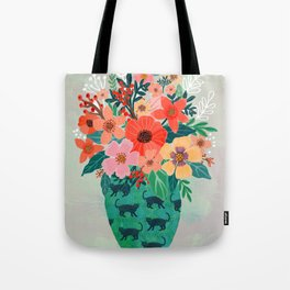 Jar with flowers, cute floral bouquet Tote Bag