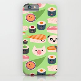 Kawaii sushi green iPhone Case