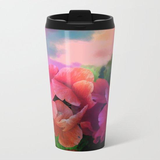 Summer garden with Anemones Metal Travel Mug