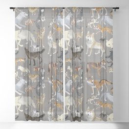 Wolves of the World Grey Sheer Curtain