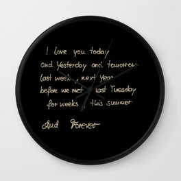 FOREVER LOVE #2 #LoveQuote #art #society6 Wall Clock