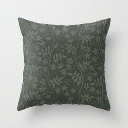 Olive green star jasmine creeper Throw Pillow