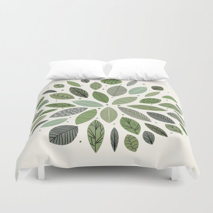 Mid-Century Green Leaves Bettbezug