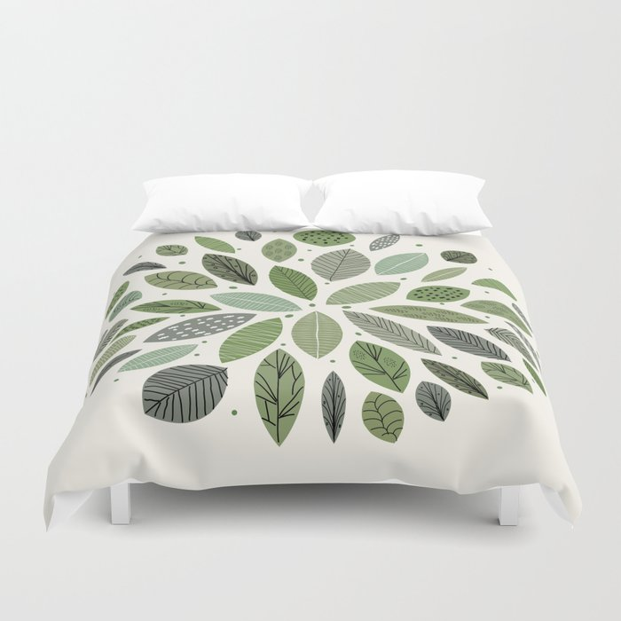 Mid-Century Green Leaves Duvet Cover