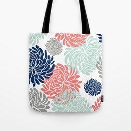Floral, Chrysanthemums, Coral, Pink, Aqua, Navy, Blue Tote Bag
