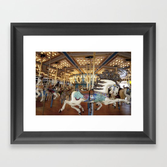 Carousel in Seaside Framed Art Print