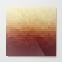 Gradient Pixel Red Metal Print