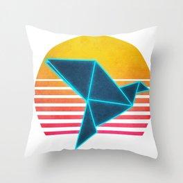Neon Retro Synthwave Origami Throw Pillow