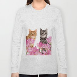 Red and Tiger cat in Lotos Flower Field Long Sleeve T-shirt