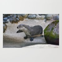 otter Area & Throw Rugs featuring Otter by Phil Hinkle Designs