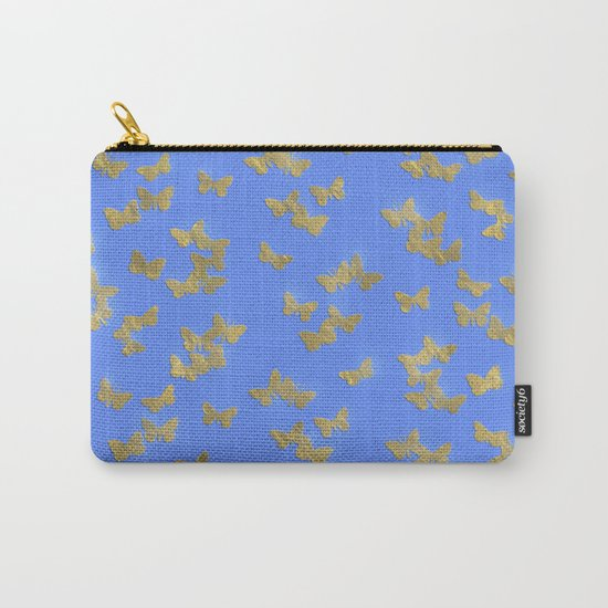 Golden butterflies on blue backround- Beautiful pattern Carry-All Pouch
