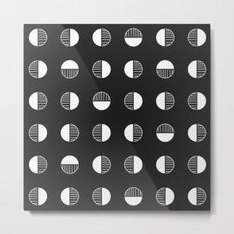 Minimal Boho Geometric Stamp - Black and White Metal Print