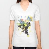 luigi V-neck T-shirts featuring Luigi Riding Yoshi by idillard