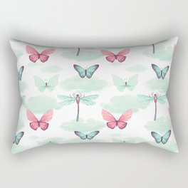 Pink teal watercolor clouds dragonfly butterfly pattern Rectangular Pillow
