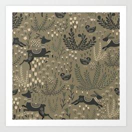 Deer and Bunnies in the Meadow Art Print