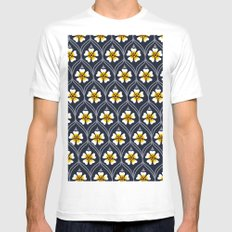 abstract white flower pattern Mens Fitted Tee White MEDIUM