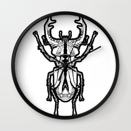 Stag Beetle _ Psychedelic bug 3.3 Black and white Wall Clock