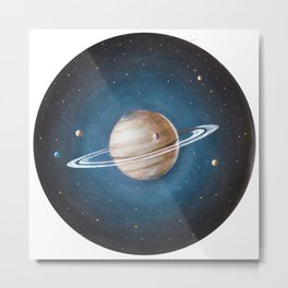 Solar System: Saturn - the Crowned King & his moons Metal Print