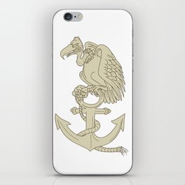 Buzzard Perching Navy Anchor Cartoon iPhone Skin