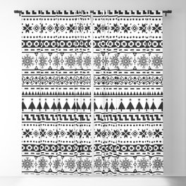 Christmas Ethnic Pattern. Black and white aztec design Blackout Curtain