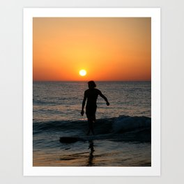 Sunset longboarding Art Print