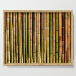 Bamboo fence, texture Serving Tray