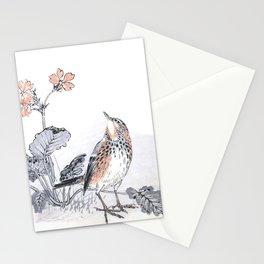 Little Skylark Bird and Flowers - Vintage Japanese Woodblock Print Art By Kono Bairei, 1883 Stationery Cards