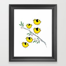 5 lil'yellow birds Framed Art Print