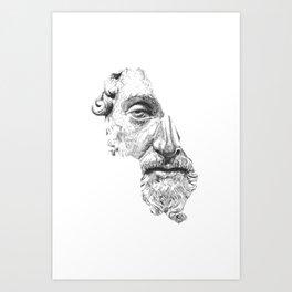 MARCUS AURELIUS ANTONINUS AUGUSTUS / black / white Art Print