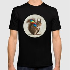 Squirrel with lollipop Mens Fitted Tee MEDIUM Black