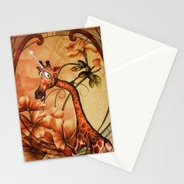 Funny, cute unicorn giraffe Stationery Cards