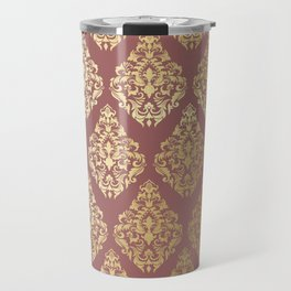 Burgundy rose gold elegant damasque Travel Mug
