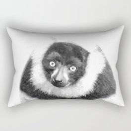 Black and white lemur animal portrait Rectangular Pillow